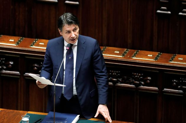 Italian Prime Minister Giuseppe Conte addresses the lower house of parliament on the coronavirus disease...