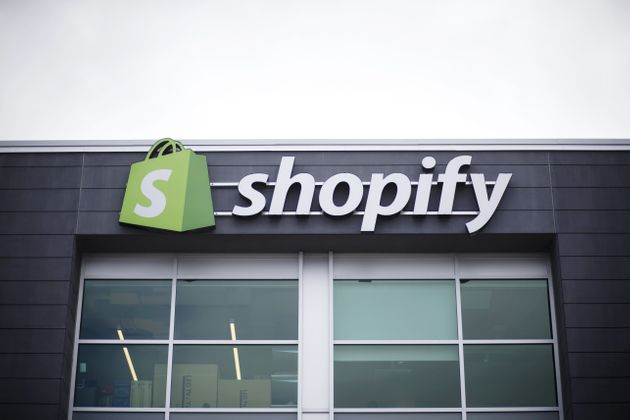 A sign outside a Shopify office in Waterloo, Ont., is seen here on Sept. 13,