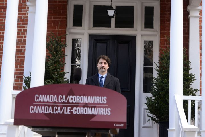 Prime Minister Justin Trudeau addresses Canadians on the COVID-19 pandemic from Rideau Cottage in Ottawa on April 21, 2020.