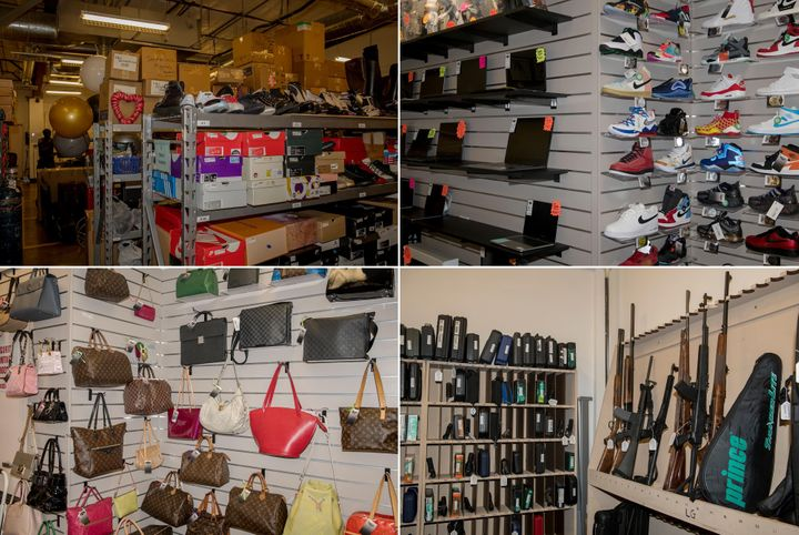 Left top: Belongings that have been pawned in a back room at Max Pawn. Right top: Shoes and computers for sale at Max Pawn. Left bottom: Designer handbags on display at Max Pawn. Right bottom: Guns at Max Pawn.