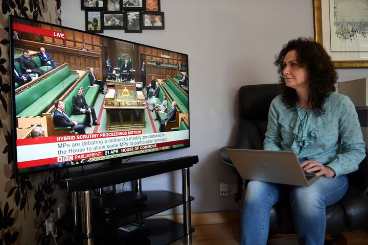 U.K. Liberal Democrat MP for North East Fife, Wendy Chamberlain, participates in a remote session of the House of Commons in Westminster, London, from her home in Fife, Scotland on April 21, 2020.