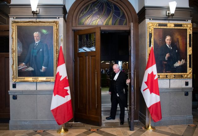 The doors to the House of Commons Chamber on Parliament Hill are closed as a limited number of MPs returned...