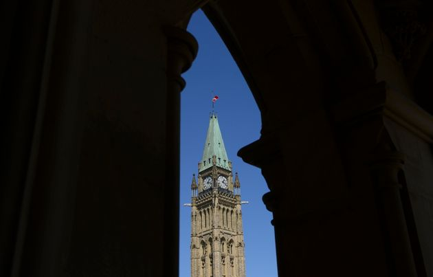 The Canada flag on the Peace Tower on Parliament Hill in Ottawa flies at half mast on April 20,