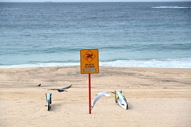 An empty Coogee beach is seen during a lock down in Sydney on April 16, 2020. - All beaches remained...