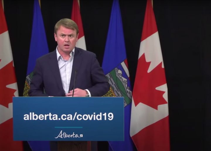 Alberta Health Minister Tyler Shandro speaks during a press conference on April 20, 2020.