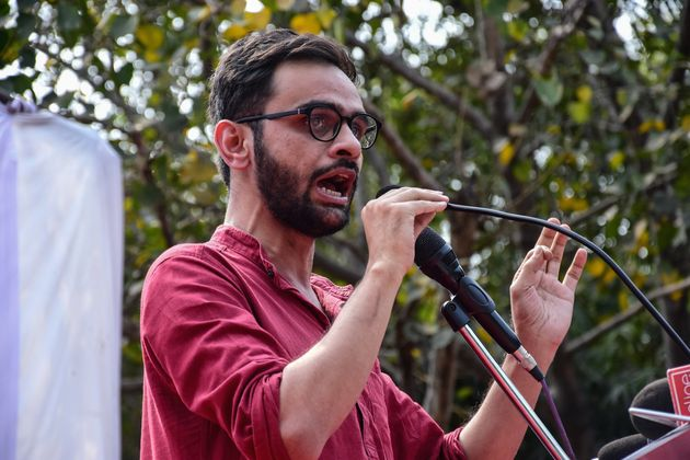 JNU former student and social activist Umar Khalid speaks during the protest against the Citizenship...