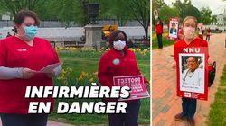 Ces infirmières manifestent devant la Maison Blanche à distance les unes des