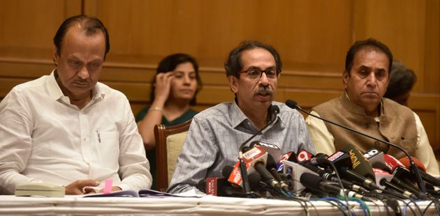 Maharashtra Chief Minister Uddhav Thackeray with Deputy CM Ajit Pawar and home minister Anil Deshmukh...