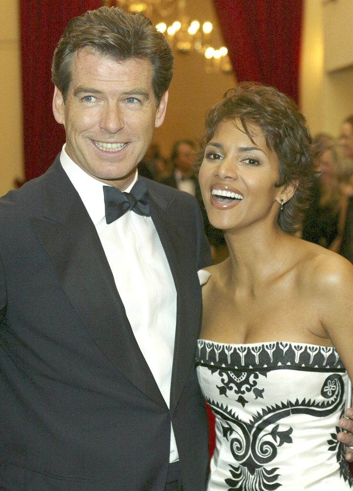 "Pierce Brosnan and Halle Berry at the London premiere of ""Die Another Day."""