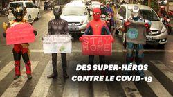 En Indonésie, des superhéros défilent pour dire aux habitants de rester chez