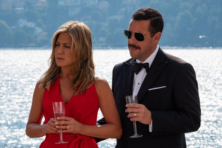 "Jennifer Aniston and Adam Sandler in ""Murder Mystery."""