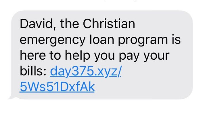 A text that the author received from a payday loan company