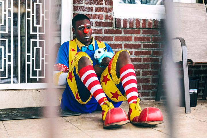Jaquan Fields, aka Quany the Clown, outside his home in Philadelphia.