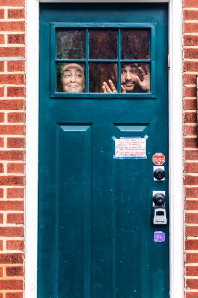 Two of Gruenwald's subjects, photographed through their front door in Philadelphia.