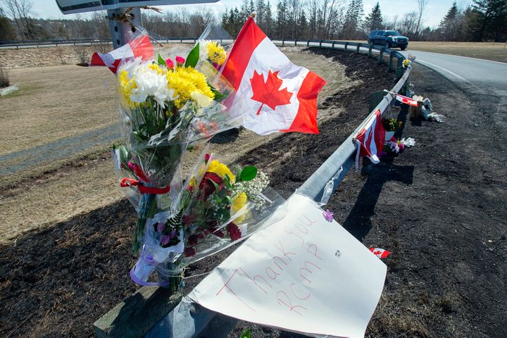 A memorial pays tribute to Royal Canadian Mounted Police Constable Heidi Stevenson, a mother of two and a 23-year veteran of
