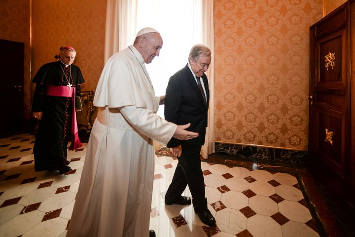 Pope Francis meets with Secretary-General of the United Nations Antonio Guterres at the Vatican on December 20, 2019.