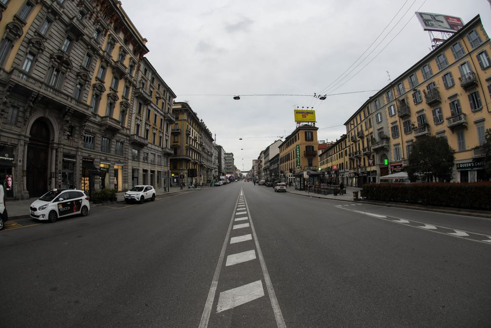 Corso Buenos Aires in Milan during Italy's lockdown. New cycle lanes and expanded sidewalks are planned for the street as par