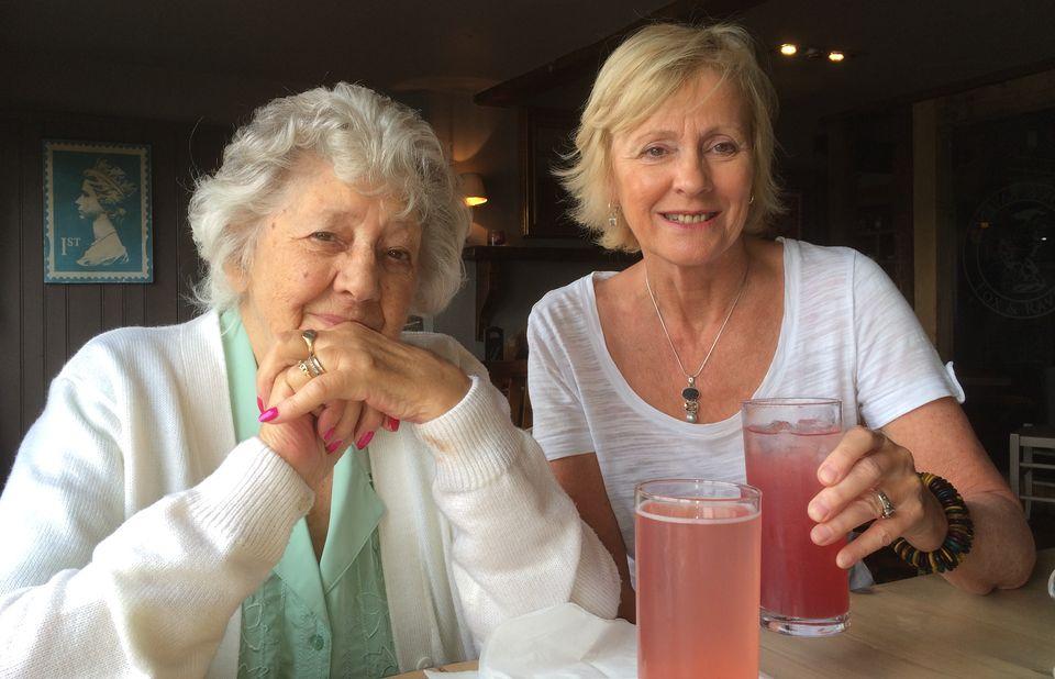 Pat Cooper enjoying mocktails with her daughter Trish Davies