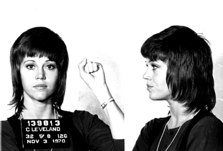 Jane Fonda's Nov. 3, 1970 police mugshot after she was arrested for assault and battery in Cleveland, Ohio, after she allegedly kicked a cop. All charges were later dropped.