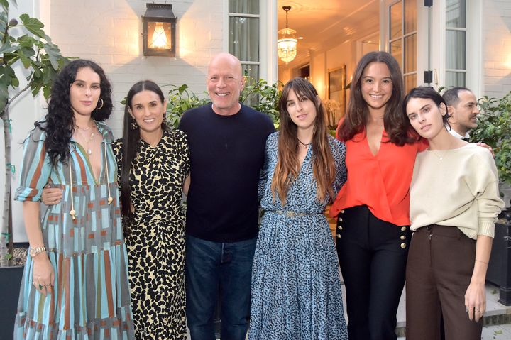 Rumer Willis, Demi Moore, Bruce Willis, Scout Willis, Emma Heming Willis and Tallulah Willis at Moore's 'Inside Out' book party on Sept. 23, 2019, in Los Angeles.