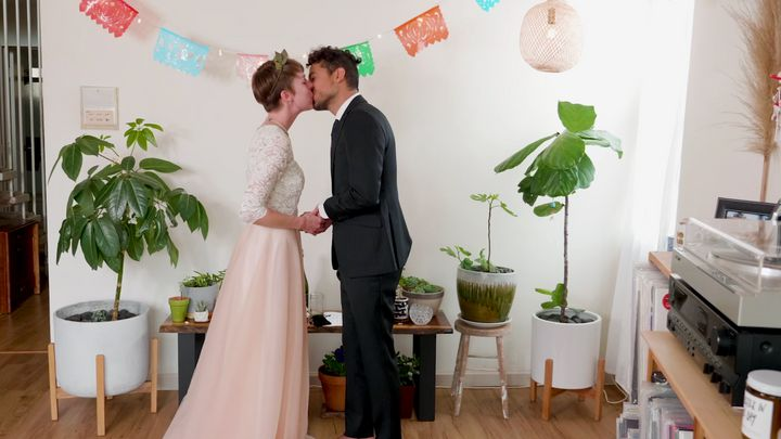 Christie Goshe and Jeff Placencia tied the knot in their Oakland apartment on March 19.