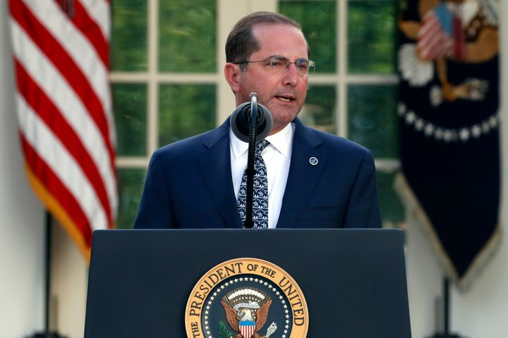 Health and Human Services Secretary Alex Azar speaks about the coronavirus at the White House on March 30. The Trump administ