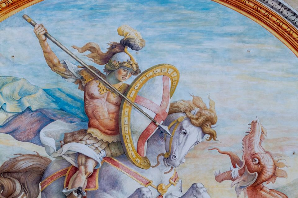 St George killing the dragon, detail from the fresco by Lazzaro Tavarone redone by Ludovico Pogliaghi,...