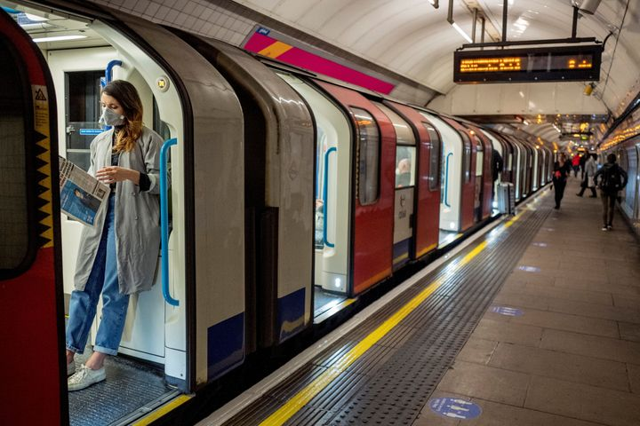 A passenger on the Tube in London on April 22. The United Kingdom has been slow to ramp up its testing capacity, but testing