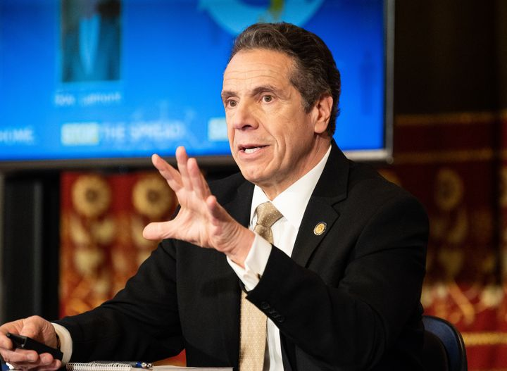 New York Gov. Andrew Cuomo speaking at a press conference on April 22.