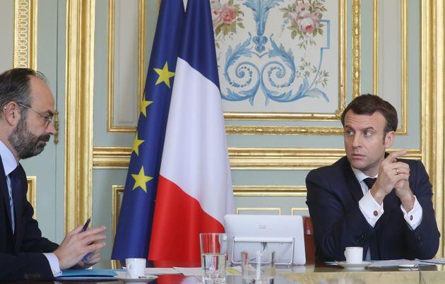 Image d'illustration - Emmanuel Macron et Edouard Philippe à l'Elysée lors d'une visio-conférence sur...