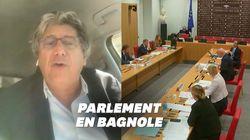Le député Éric Coquerel intervient en commission parlementaire... depuis sa