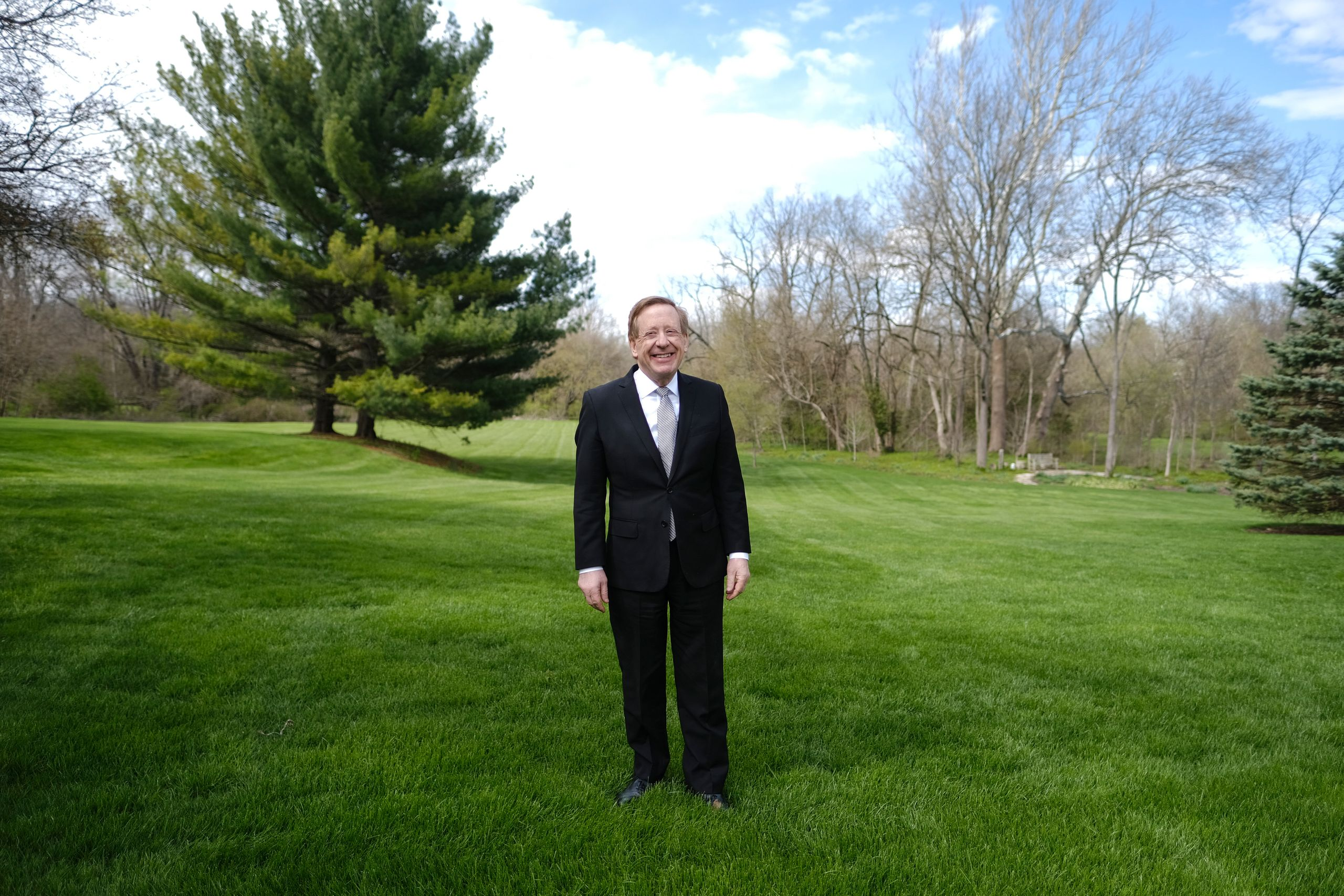 "Mayor James Brainard poses for a portrait at his home in Carmel, Indiana. ""We're trying to save people's li"