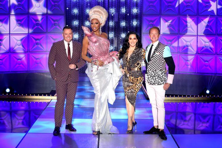 "Ross Mathews, RuPaul, Michelle Visage and Carson Kressley on ""RuPaul's Secret Celebrity Drag Race."""