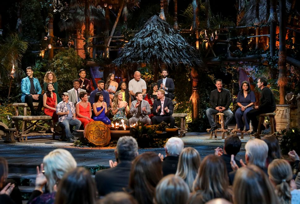 """Jeff Probst addresses the cast at the """"Survivor: Island of Idols"""" finale and reunion show in December 2019."""