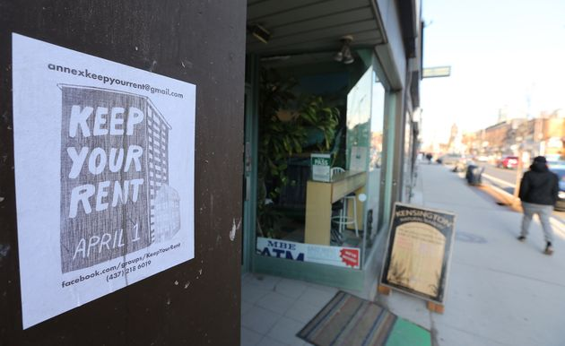 A Keep Your Rent sign in Toronto in March, calling for residents to not pay their April rent amid the
