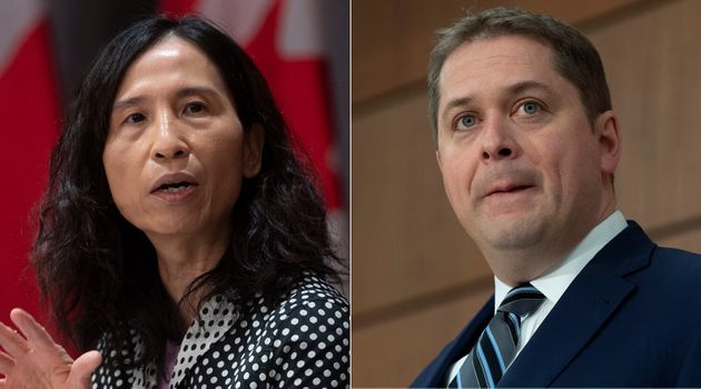 Chief Public Health Officer Theresa Tam and Conservative Leader Andrew Scheer are shown in a composite...