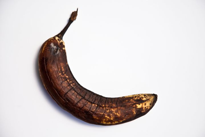 This over-ripe banana would be an excellent addition to a banana bread.