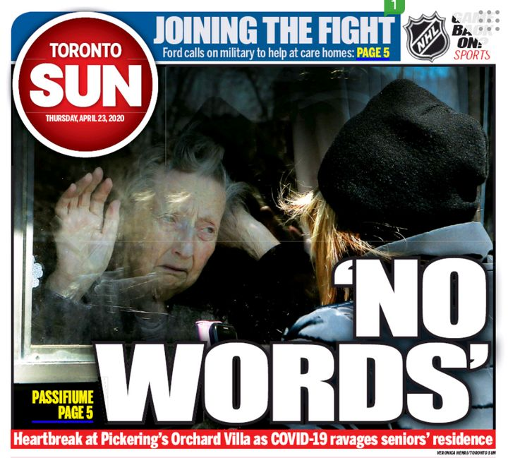 """The cover of the Toronto Sun on April 23, 2020. Ontario Premier Doug Ford said the photo is """"heartbreaking."""""""