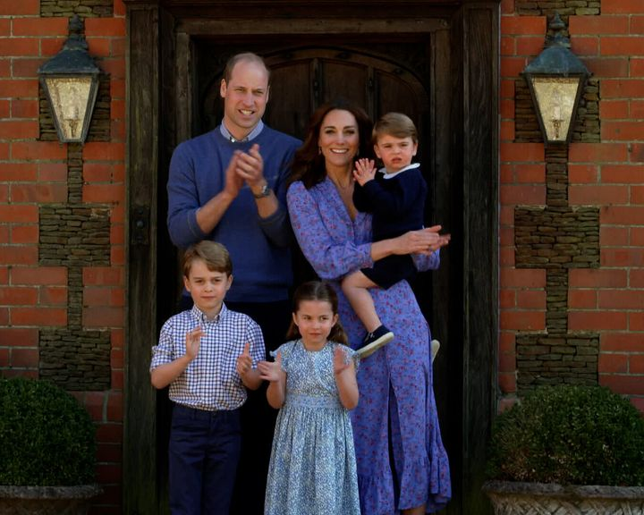 William, Kate, Louis, Charlotte and George clap for health care workers as part of the BBC Children In Need and Comic Relief