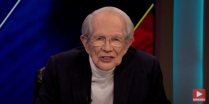 "Pat Robertson hosts the ""The 700 Club"" on the Christian Broadcast Network."