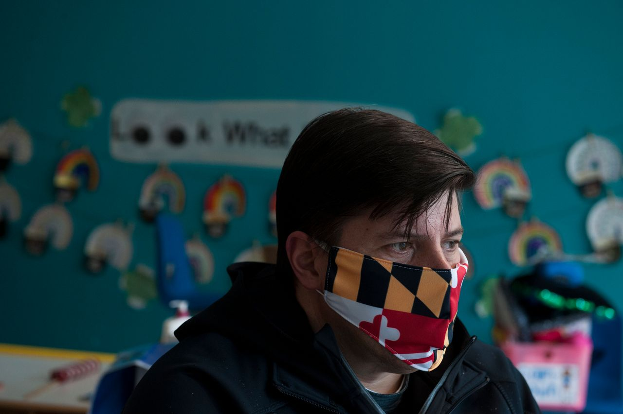 Shaun Rose, 48, director of the Rock Spring Children's Center, at his shuttered day care center Thursday in Bethesda.