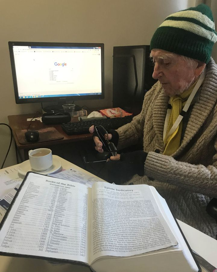 """96-year-old Lunney, who spent most his working life as an engineer in the textile physics space (wool research), is competent using tech. Here his computer is seen being held up by his oldest son Daniel's book 'A Natural Legacy. Ecology in Australia'. Daniel told HuffPost: """"At least it's getting some use."""""""