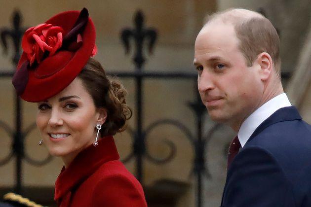 Los duques de Cambridge, en la Abadía de Westminster el 9 de marzo de