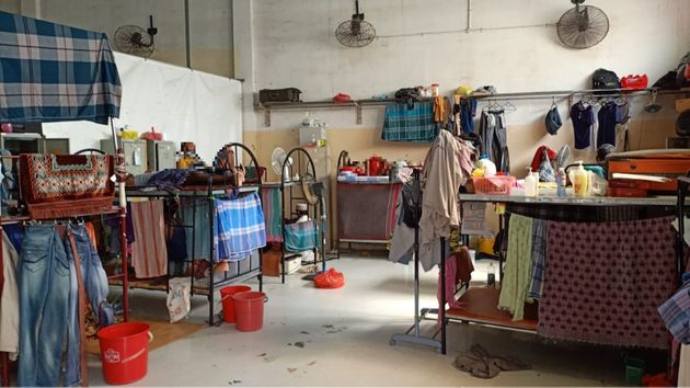 Seventeen men have been confined in this room at Kian Teck Crescent dormitory for 20 days. The men's...