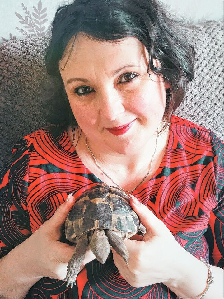 Paula Stewart and Jeff the tortoise