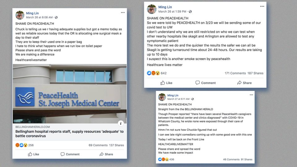 Facebook posts by physician Ming Lin criticizing St. Joseph Medical Center before he was