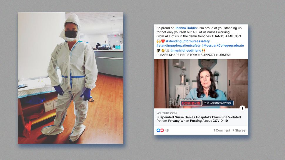Left: Jhonna Porter while working in protective equipment. Right: Facebook post praising Jhonna Porter.