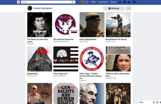 A series of extremist Facebook pages