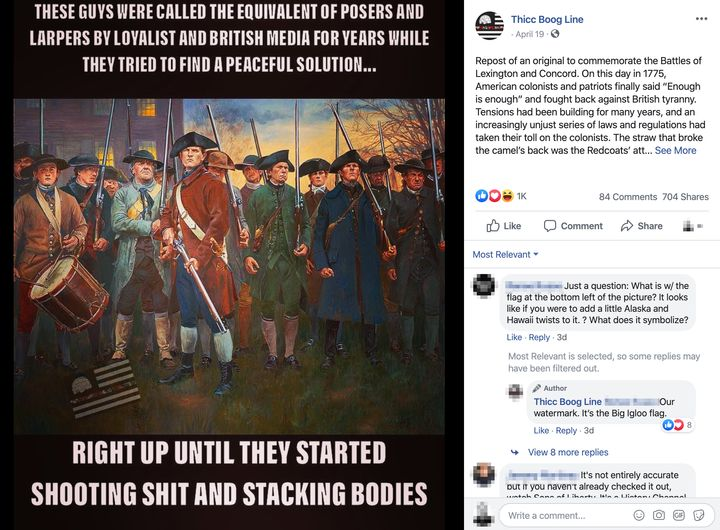 "A meme posted to the Facebook page of a group devoted to the ""boogaloo,"" a far-right term used to describe a coming civil war"