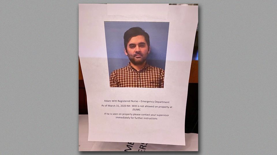 A message barring nurse Adam Witt that was posted at Jersey Shore University Medical